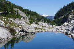 One of many alpine lakes in Coastal Mountains. Alpine mountain rugged scenery of Coastal Mountains in British Columbia. Canada royalty free stock photo