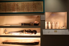 One of many astounding exhibits covering Egyptian Mummies,Institute of History and Art,Albany,New York,2016 Stock Image