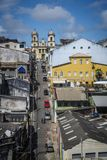 Church at the top of the road, historic centre of Pelourinho, Salvador, Bahia, Brazil royalty free stock image