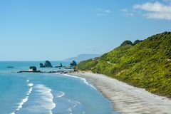 One of the many beautiful beaches in New Zealand. One of the many beautiful beaches in West Coast, New Zealand. This one is near Runanga royalty free stock images