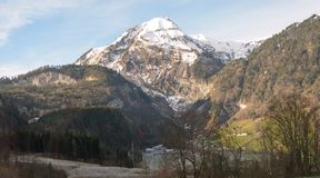 One of the many beautiful mountains in swiss alps. Shot during my visit in november 2015 stock photos