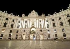 Illuminated Spanish Riding School at night in Vienna, Austria, Europe stock image