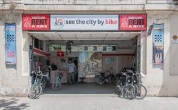 Bike rental shop in Barcelona, Spain stock images