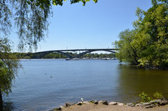 One of the many bridges in the green city of Stockholm - capital Stock Photos