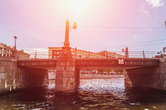 One of the many bridges of St. Petersburg, Russia, bottom view Stock Photos