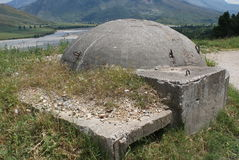 One of many Communist-era bunkers dotting the Albanian countryside Stock Images