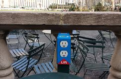 Electrical Outlet, Plugs, Bryant Park, NYC, NY, USA stock photo