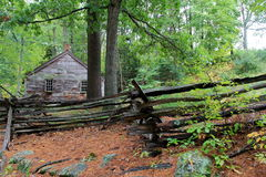 One of many historical buildings with rough-hewn fencing on property,Historic Old Sturbridge Village,Mass,2015 Stock Photography