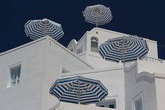 One of the many hotels of Imerovigli village, Santorini island Royalty Free Stock Photo