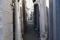 Narrow passage at cemetery in Recoleta royalty free stock image