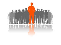 The one through many people. Vector illustration of man standing as first in a crowd of people, refered to the best person, the first, the one, the main and most vector illustration