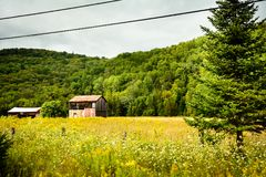 Canada - near Mont Tremblant. One of many roadsides in Canada - stretching endlessly into the giant country. A small barn in a field Royalty Free Stock Photos