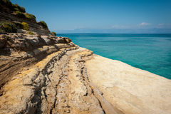 One of many shore clifs on the beach of Sidari, Corfu (Kerkyra), Royalty Free Stock Images