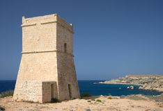 Maltese Watch Tower. One of the many watch towers at the coastline of Malta Royalty Free Stock Photo