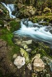 Fontegreca Forest Waterfalls, Campagnia. One of the many waterfalls flowing to the city of Fontegreca, within the Cipresseta Forest in Campania, Italy stock photography