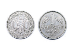 One mark Germany 1950. One German Mark Coin minted 1950. The Mark was the official currency of Germany until 31st December 2001 when the Euro currency was royalty free stock photo