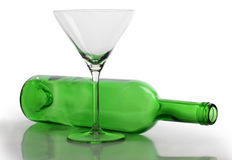 One martini glasses on bottle Stock Photography