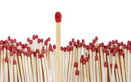 Matches. One match standing out from the crowd Royalty Free Stock Image