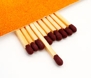 One match stick spent among match sticks Stock Photos