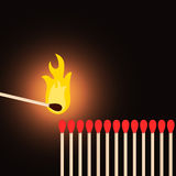 One matchstick lighting others. One matchstick giving light to others vector illustration