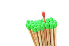 One matchstick standing out from other Stock Photography