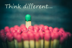 One math standing out from the crowd. One match standing out from the crowd, leadership, difference concept stock images
