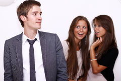 One men and two girls Royalty Free Stock Photos