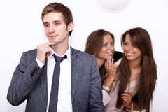 One men and two girls Stock Photography