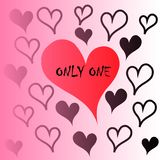 `Only one` message in red heart Royalty Free Stock Image