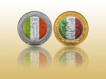 One Mexican Peso Flag in a coin Royalty Free Stock Image