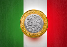 One Mexican Peso Flag in a coin Stock Photo