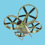 One military quadrocopter drone with  camera, camouflage paint isolated render Royalty Free Stock Image