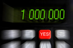 One million. Number one million on the calculator display stock image