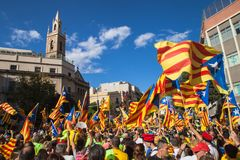 One Million Catalans March for Independence Royalty Free Stock Photo