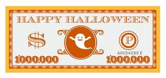 Happy Halloween Dollar Bill Vector Design. One Million dollar bill with space for text royalty free illustration
