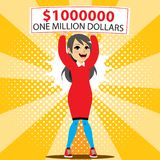 One Million Dollar Winner. Young happy excited woman winner holding big one million dollar check lottery banner vector illustration