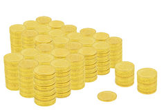 One Million Dollars in Gold Coins. Gold Coins totaling one million dollars stock photography