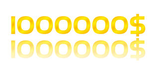 One million dollars. Gold number golden background Royalty Free Stock Image