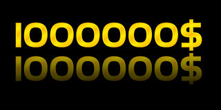 One million dollars. Gold number golden background Stock Photo