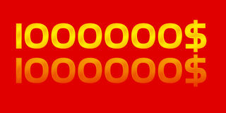 One million dollars. Gold number red background Stock Photography