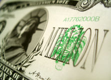 One million dollars millennium bill. One million dollars millennium note Stock Photos
