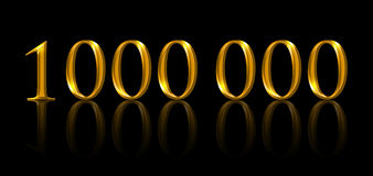 One million. Illustration of golden numbers over black. One million. Illustration of golden numbers on black background. Symbolic figure of being a millionaire vector illustration