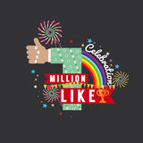 One Million Likes Celebration. One Million Likes Celebration Vector Illustration Stock Photo