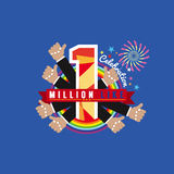 One Million Likes Celebration. One Million Likes Celebration Vector Illustration Royalty Free Stock Photos
