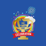 One Million Likes Celebration. Vector Illustration royalty free illustration