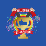 One Million Likes Celebration. Vector Illustration Royalty Free Stock Photography
