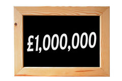 One Million Pounds. A wooden framed chalkboard with one million pounds written in white letters stock photography