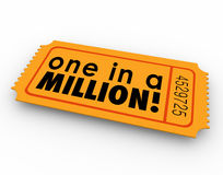 One in a Million Words Raffle Ticket Winner Game Luck Chance. One in a Million words on an orange raffle or lottery ticket illustrating your unique position or stock illustration