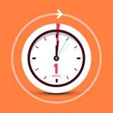 1 One Minute Clock Symbol. On Orange Background vector illustration
