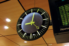 Only one minute left. Clock in big hall royalty free stock photography